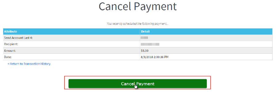 Cancel Payment