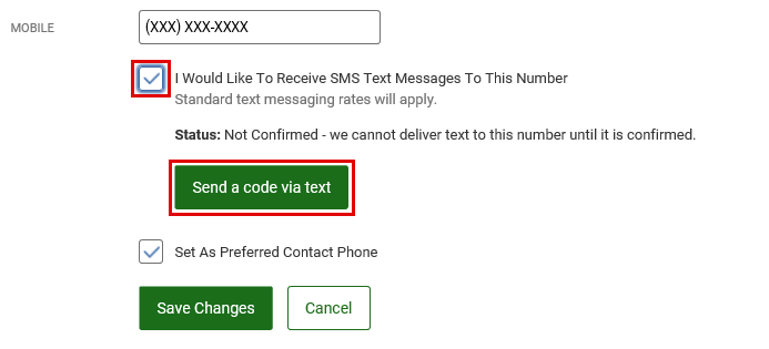 Select to Receive SMS Messages