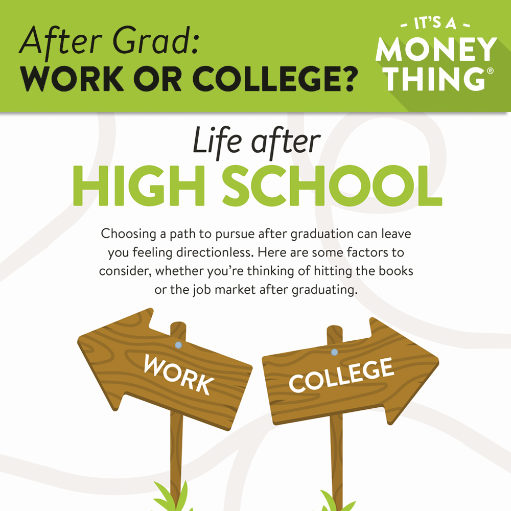 After Graduation: Choosing between work and college can leave you feeling directionless.