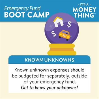 Known Unknown expenses, like common repairs, should be budgeted for outside of an emergency fund.