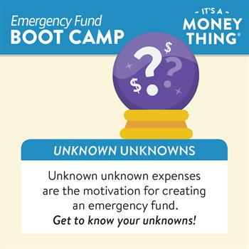 Unknown Unknown expenses, like accidents or illnesses, are why everyone should have an emergency fund.