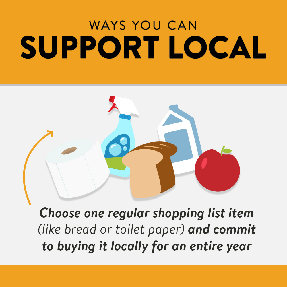 Grow your money locally: Choose 1 regular shopping list item and commit to buying it locally for a year.